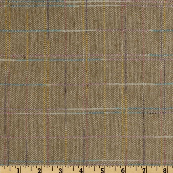 Wool Blend Coating Color Plaid Beige/Multi