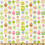 FH-759 Wildflowers & Sweet Treats Flannel Cones & Cakes White