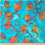 0269829 Indian Batik Tulips Turquoise