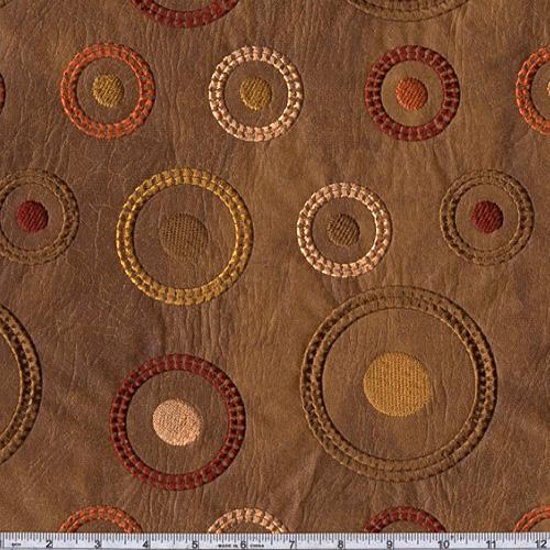 Faux Leather Soliel Embroidered Circles Saddle Brown