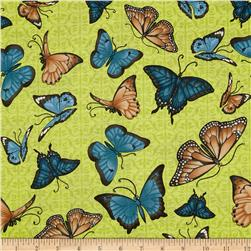 Butterfly Bliss Tossed Butterflies Green