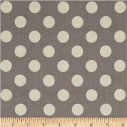 Riley Blake Le Creme Basics Medium Dots Grey/Cream
