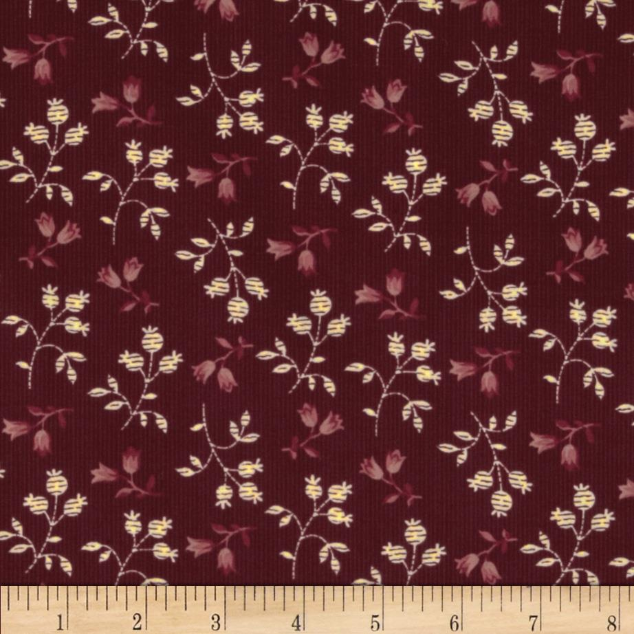 Prairie Home and Companions Pin Stripe Floral Burgundy