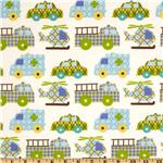 203622 Transportation Flannel Nursery Traffic Jam White