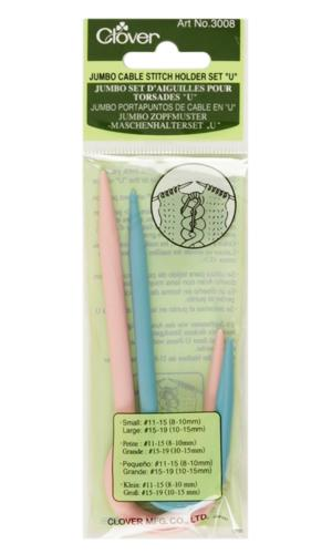 Clover Jumbo Cable Stitch Holder Set U, 2/pkg