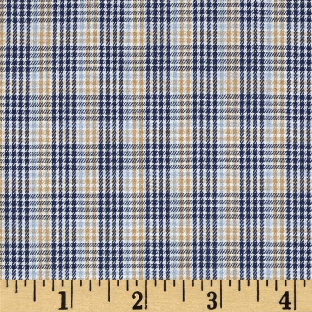 Yarn Dyed Houndstooth Shirting Plaid Tan/Blue