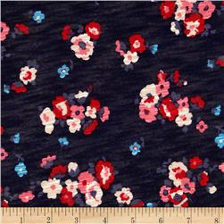 Stretch Rayon Slub Jersey Knit Floral Navy/Red