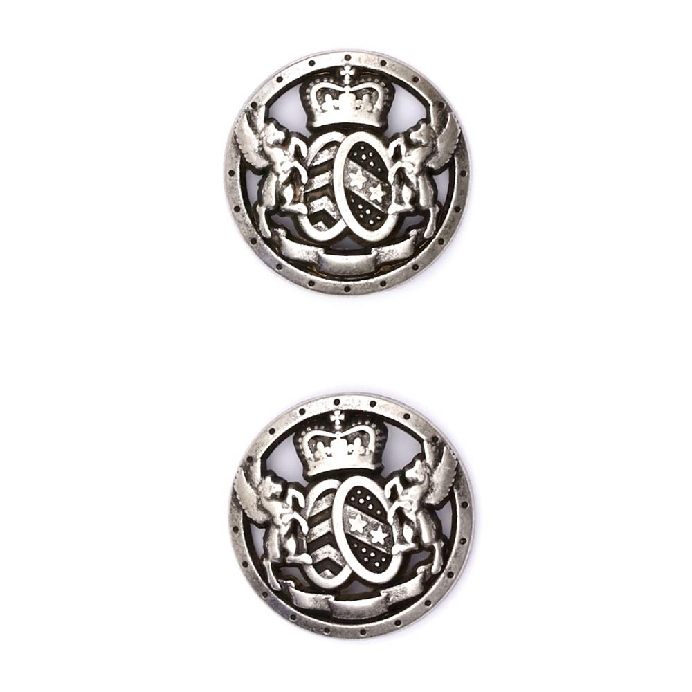 "Fashion Button 7/8"" Royal Shield Silver"