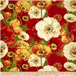 0272294 Poppy Love Large Floral Green