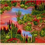 0301756 Timeless Treasures Southwest Cactus Scenic Multi
