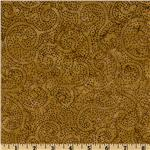 FG-156 Tonga Batik Falling Leaves Dotted Swirls Curry