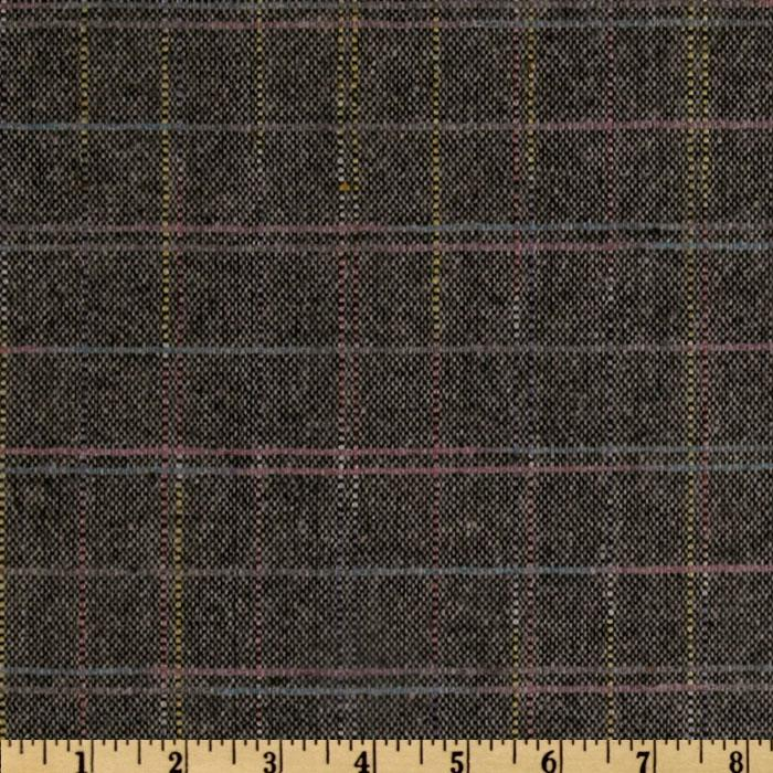 Wool Blend Coating Color Plaid Black/Multi