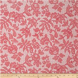 Stretch Twill Sparkle Lace Print Red/White