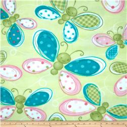 Fleece Tossed Butterflies Green