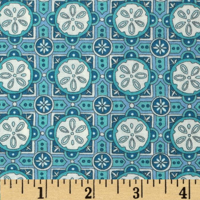 Moda Seascapes Sand Dollar Tiles Caribbean Blue