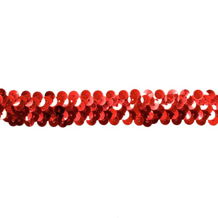 1'' Stretch Sequin Trim Red