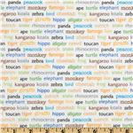 FU-064 Riley Blake Zoofari Animal Words White
