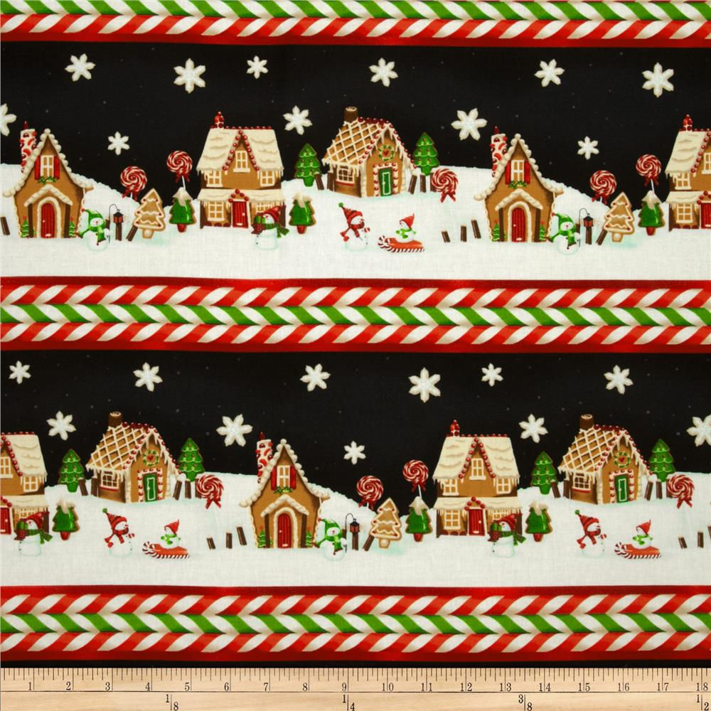 A Gingerbread Christmas Border Stripe Black