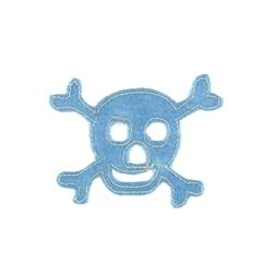 Skull with Felt Applique Light Blue