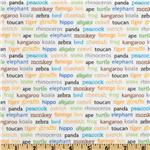Riley Blake Zoofari Organic Animal Words White