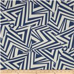 Rayon Challis Abstract Navy/Ivory