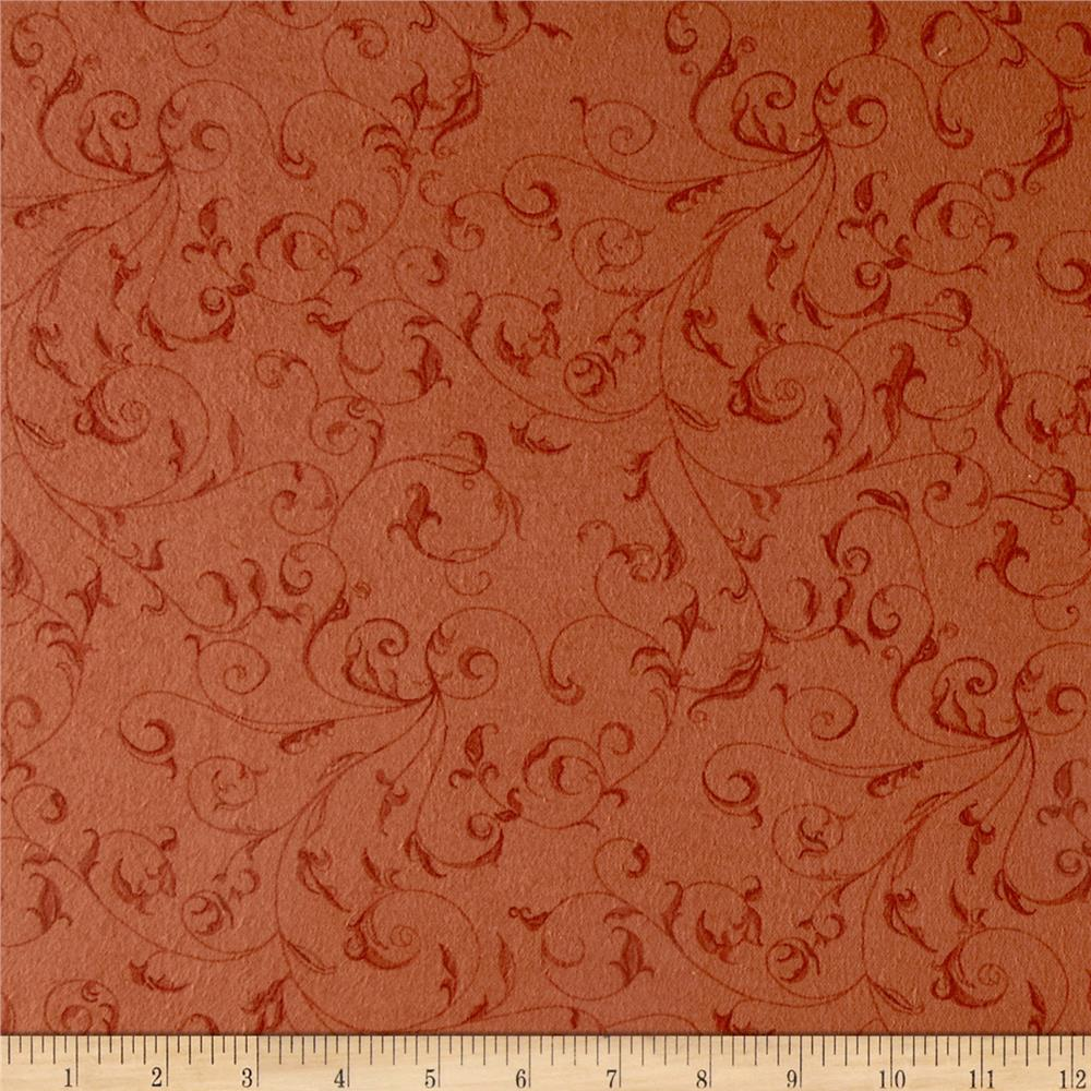 "110"" Wide Flannel Quilt Backing Filigree Pumpkin"
