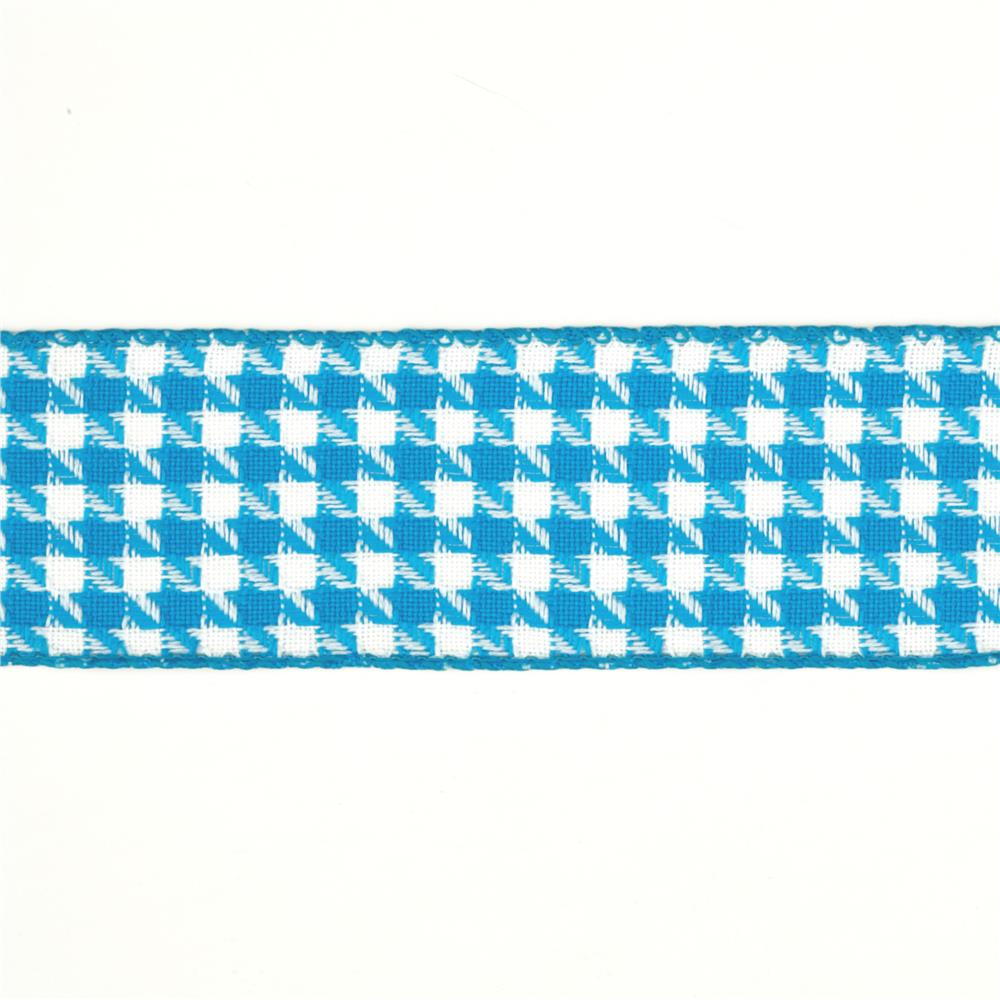 "1 1/2"" Houndstooth Nylon Edge Ribbon Turquoise"
