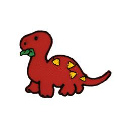 Dino with Leaves Applique Red