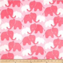 Plush Coral Fleece Elephants Tone on Tone Candy Pink