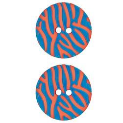 "Dill Novelty Button 1 1/8"" Stripes on Orange"