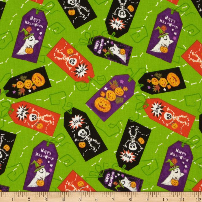 Halloween Tags Allover Green