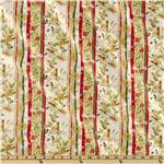Christmas Traditions Floral Stripe White