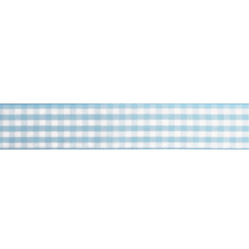 "1.5"" Gingham Ribbon Light Blue/White"