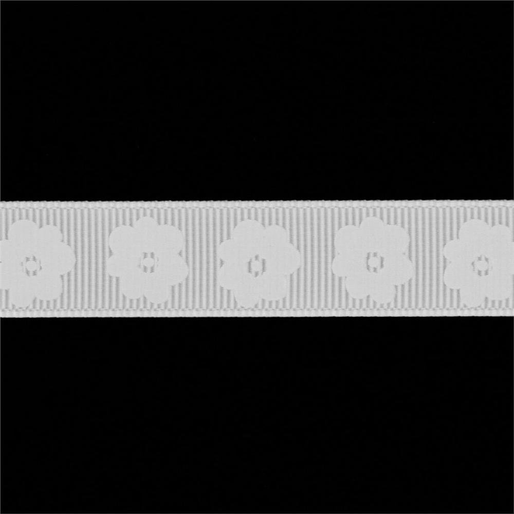 "Riley Blake 5/8"" Grosgrain Ribbon Flower White"