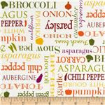 Farmer's Market Veggie Words Ivory