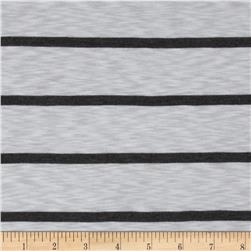 Designer Stretch Jersey Knit Yarn Dyed Stripe White/Charcoal Grey