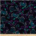 Designer Stretch Jersey Knit Flourish Floral Navy/Teal
