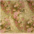 Serene Garden Metallic Asian Floral Green
