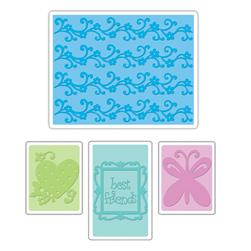 Sizzix Textured Impressions Embossing Folders 4 Pack-Best Friends Set