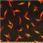Flannel Backed Vinyl Chili Peppers Black