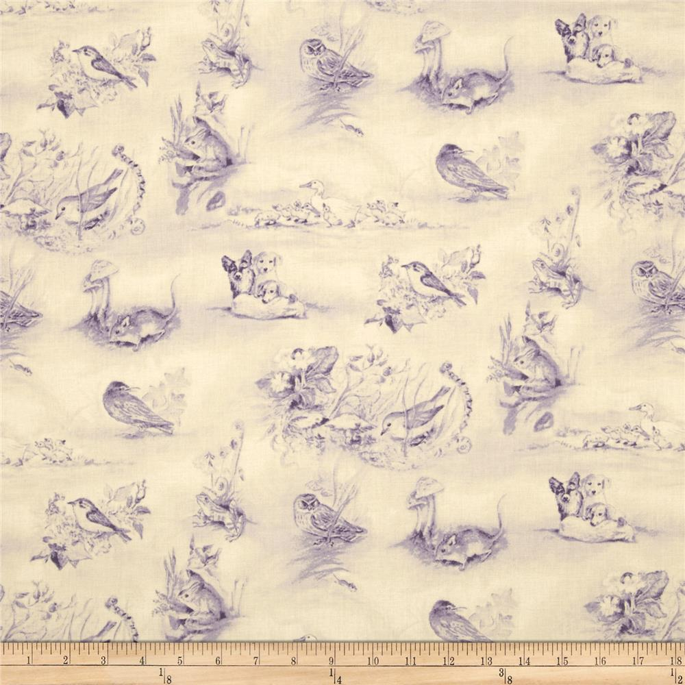 A Child's Garden of Verses Bunny Toile Lilac