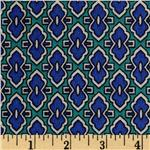 Rivera Crepe de Chine Moroccan Tile Navy/Green