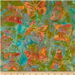 0269945 Bali Batiks Butterfly Green/Orange