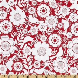 Song Bird Floral Red/White