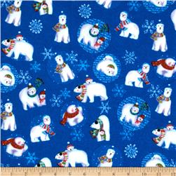 Winter Magic Flannel Polar Bears Royal Blue