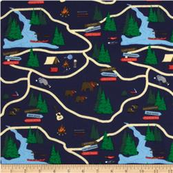 Take a Hike Flannel Map Navy