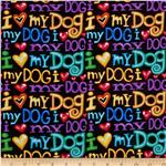 0301782 Timeless Treasures I <3 My Dog Words Black