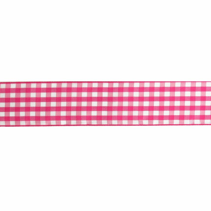 1.5&quot; Gingham Ribbon Pink/White