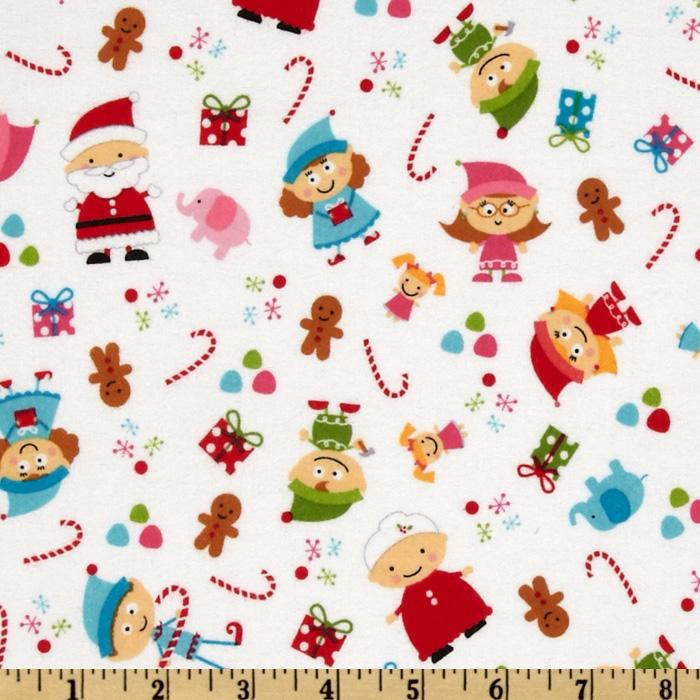 Santa&#39;s Workshop Flannel Elves White