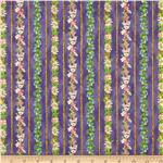 0269140 A Child's Garden of Verses Floral Stripe Purple